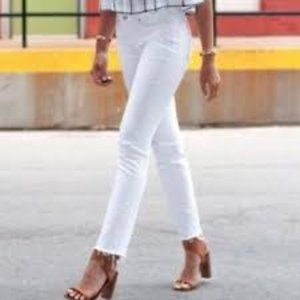 Madewell Alley Straight White Distressed Jeans